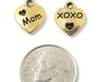TierraCast Pewter Charms-Gold Love Mom Heart (2)