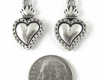 TierraCast Pewter Charms-Silver Flaming Heart Milagro (2)
