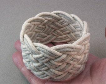 grey rope bracelet six part wide slip on cuff sailor knot bracelet woven cotton armband knotted bracelet turks head knot 3906
