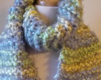 Knit Scarf with Fringe Womens Scarf Warm Winter Scarf in Light Blue/Green/Yellow Tones 6 x 65 - Ready to Ship