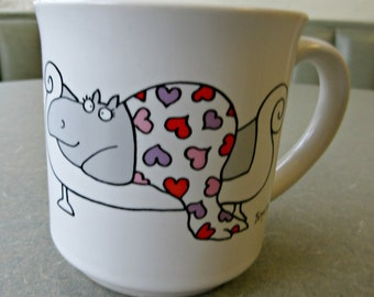 Vintage Mug, Sandra Boynton Hippo, Love You More Than Chocolate, Coffee Cup Ceramic Cup, Cute Kawaii, Ceramic Mug, Made in Japan, 1980s Mug