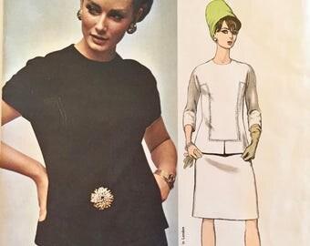 "Vintage VOGUE Couturier Design sewing pattern uncut 1960's JO MATTLI Of London #1661 size 10 bust 31"" skirt blouse 2 piece dress Mod"