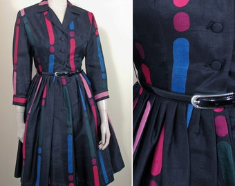 1950s Multi Colored Print Silk Shirtwaist Vintage Dress SZ S