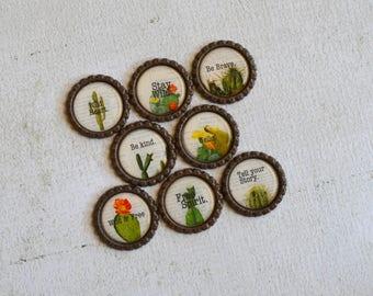 Cactus Bottlecap Magnets- Boho Chic Cactus and Inspirational Words- Cactus Decor, Cactus Gift- Be Kind, Be Brave, Free Spirit, Wild Heart