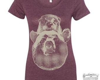 Womens Otter & Bear-  Lightweight Tri Blend t shirt [+Colors] S M L XL XXL