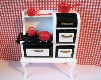 Dollhouse Stove, black white stove, red pots, copper look pots, 1930s stove, cooker, twelfth scale,