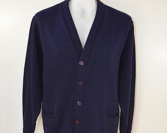 on sale Vintage San Francisco Knitting Mills CARDIGAN  sweater dark blue large USA