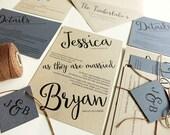 Blue Rustic Wedding Invitations, Kraft Paper with Brown Twine, Angled Script Modern Wedding Invitation Set, Light Blue, Hydrangea Periwinkle