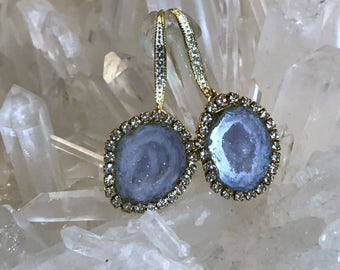 Tabasco Geode Druzy Earrings Blue Grey Crystal Raw Gemstone Mineral Diamond Geode Slice Swarovski Crystal  - Dakota