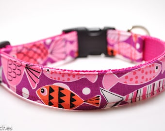 Fish Dog Collar / Fishtail in Raspberry / Martingale or Buckle / Beach Dog Collar