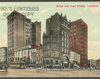Columbus, Ohio Vintage Postcard - Broad and High Street (Unused)