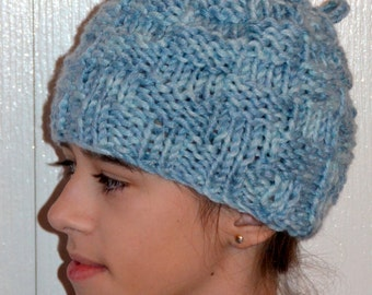 Blue Ponytail Hat Scarf, Ponytail Beanie, Transformer Hat, Hat with Hole, Womens Hat, Knit Hat, Knit Beanie, Bonnet Femme, Womens Beanie