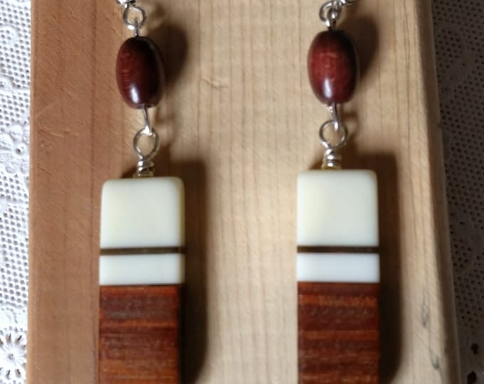 Rectangular Polished Wood and Bone Drop Earrings with Sterling Silver Ear Wire