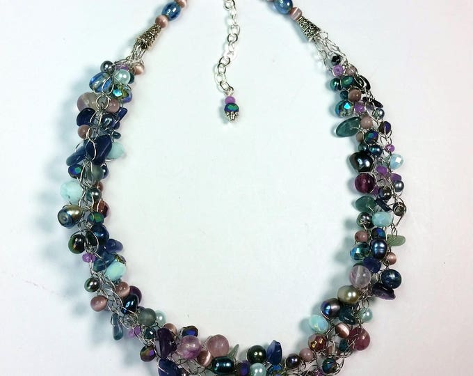 Fluorite, Pearl, Crystal and Glass Pastels Wire Crocheted Necklace with Adjustable Length