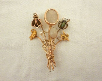 Amazing and Exceptional Antique Victorian Bouquet of 14K Stick Pins Brooch with Ancient Carved Moonstone Bee w/ Hair & Diamond, Spider