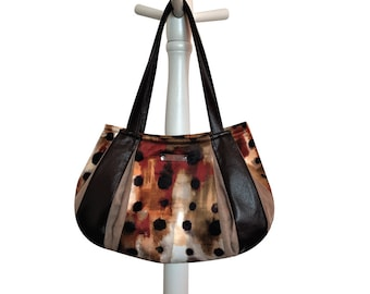 WHISKEY SOUR Large Hobo = fun abstract polka dot rust orange brown cream taupe faux suede leather handmade by jennjohn