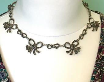 Art Deco Silver Marcasite necklace 1920s Ribbon & Bow Vintage Choker~Collar wedding bridal jewellery Birthday gift Gatsby style*FREE SHIP