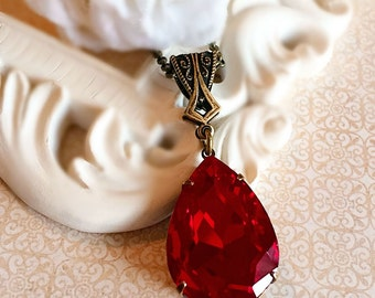 Large Red Necklace - Crystal - Christmas Jewelry Gift - VERSAILLES Ruby