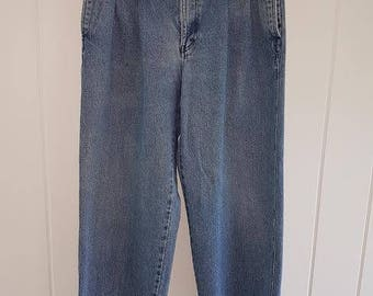 Vintage 80s Denim Gant Jeans, High Waisted, Pleated Front. Size W32 - L32