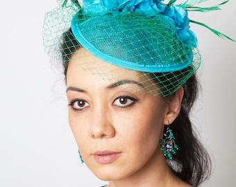Fascinator hat blue green fascinator turqoiuse peacock wedding hat MALIKA MOROCCO