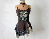 Boho Womens Tank Sexy Strappy Top Brown Tiger Shirt Art Clothing Fit Flare Design Flowy Swing Top Bohemian Fashion Long Tank Top S M 'OLIVIA