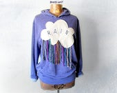Women's Purple Hoodie Rain Cloud Applique Shirt Colorful Fringe Pullover Hoodie Hooded Jacket Upcycled Sweatshirt Casual Clothing M 'PEYTON'