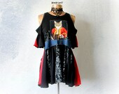Funky Black Shirt Open Shoulder Top Upcycled Clothing Bohemian Chic BabyDoll Top Women's Cat Shirt Stretch Cotton Fit Flare Tunic M 'KELLIE'