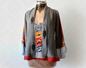 Grey Bohemian Sweater Women's Draped Top Upcycled Fashion Wearable Art Artsy Boho Tunic Swing Shirt Gypsy Sweater Eco Friendly S M 'SHILOH