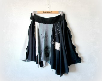 Black Upcycled Skirt Grunge Clothing Tattered Clothes Urban Chic Stretch Waist Goth Skirt Rocker Girl Women's Boho Clothes L XL 'CHARLOTTE'