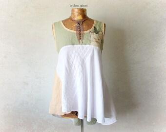 100% Linen Blouse Shabby Chic Top Cat Clothes Women's Boho Tank Mori Girl Clothing Eco Gypsy Shirt Wearable Art Summer Bohemian M 'REBECCA'