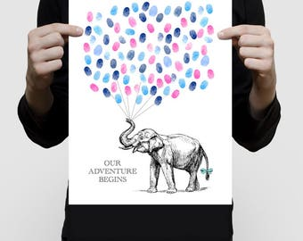 elephant baby shower guest book print poster, fingerprint balloon nursery art personalised custom babies artwork sarafi theme animal art zoo