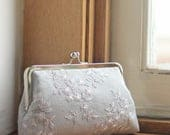 Bridesmaid Lace Clutch | Grey Wedding Purse | Bridal Silver Clutch | Personalized Bridesmaid Gift [Antoinette Clutch: Hyacinth on Gray Mist]