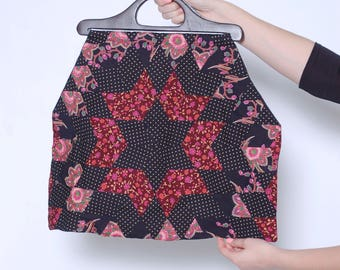 Vintage PATCHWORK Bag OVERSIZED Cloth Bag Mixed Print QUILT Style Bag