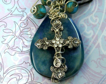 Handmade Aqua Fire Agate Cross Pendant Necklace, Cross Jewelry,Inspirational, Wire Wrapped, Christian, Gift for Her