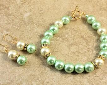 Light Green Ivory Gold Glass Pearl Wedding Bracelet and Earrings Set Bridal Bridesmaid Bride