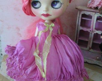 BLYTHE DRESS #6 - Vintage Styled Shabby Elegance Tattered/Layered/Hand-Dyed Silk Dress  -  #6 - Medium Orchid