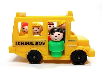 1988 Vintage Fisher-Price Toy / Yellow School Bus / 5 Little People Figures / Plastic Kids Mom Family / Play Pretend / PeachyChicBoutique