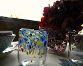 DISCOUNTED-Drinking Glasses-Drinkware-Water Glasses-Glassware-Hand Blown Glass-Kitchen-Dining-Set of 4-Color & Shape Mix