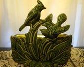 Mid Century TV Lamp Planter Cardinals  Art Pottery