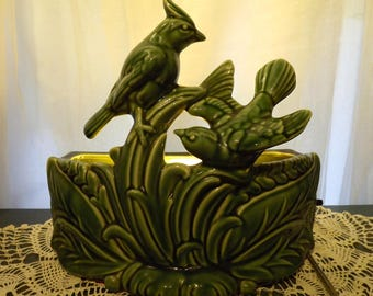 Mid Century TV Lamp Planter Cardinals  Art Pottery