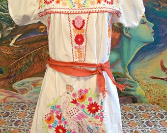 Mexican Dress, White Mexican dress, Embroidered dress, Peacock, Mexican Cotton dress, cinco de Mayo, Frida Kahlo, size S