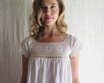 Cotton Nightgown in White Flannel with Vintage Lace Yoke Size Medium
