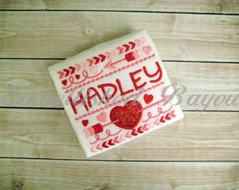 Personalized Valentine Tribal Design with Heart Applique T-shirt or Onesie