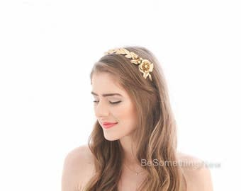 Gold Leaf Headband with Large Flower Grecian Laurel Headband Gold Metal Tiara, Wedding Headpiece, Boho Flower Crown