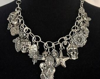 Twenty One Skull Charm Necklace Solid Sterling Silver Jewelry Santa Fe Native Goth Biker Style