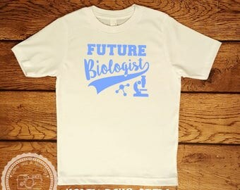 Youth Size Future Biologist TShirt- STEM Shirt- Science Math Tech- Youth Boy & Girl Funny Tshirt Children Kids- Smart Humor Clothing- #014