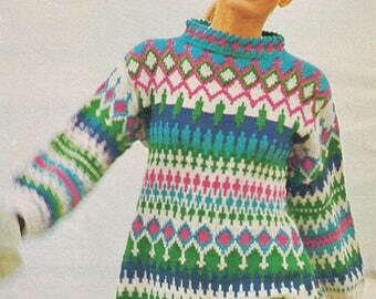 Downloadable Vintage knitting Pattern - 60s Norse Sweater Dress - PDF Pattern - retro 1960s top