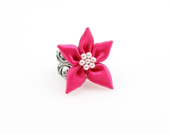 Pink Poinsettia Flower Ring - Choose Your Own Adjustable Band - Felt Flower - antiqued brass, patina copper, or vintage silver