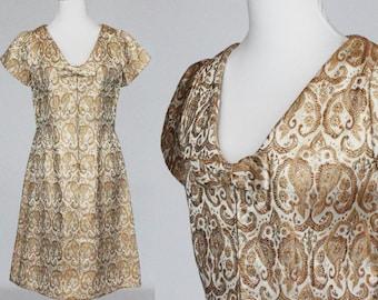 60's Metallic Gold Dress / Short Sleeve A-Line Shift / Gold Brocade / Small to Medium