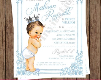 Custom Printed Shabby Chic, Antique, Vintage, Select hair/skin color, Royal Prince Baby Shower Invitations - 1.00 each w/envelope